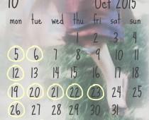 2015年10月の営業日