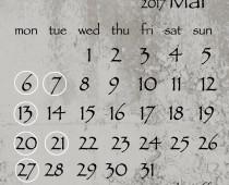 2017年3月の営業日