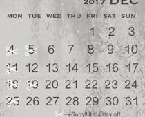 2017年12月の営業日
