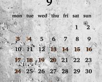 2018年9月の営業日